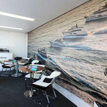 ブースの壁面グラフィック ボートショー2018
