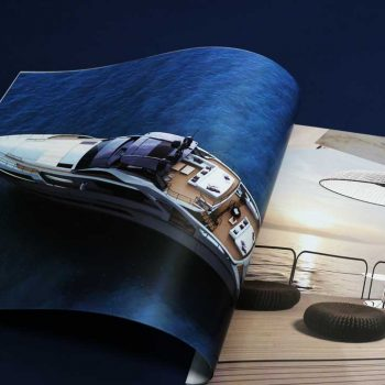スーパーヨットのグラフィカルな商品カタログをオンデマンド印刷にて制作